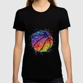 Basketball Ball Colorful Watercolor Sports Art T-shirt