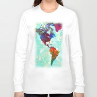map Long Sleeve T-shirts featuring Abstract Watercolor World Map by Gary Grayson