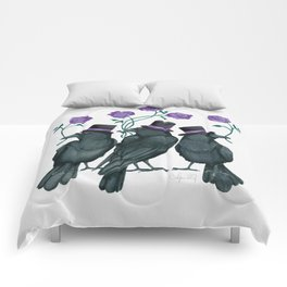 Ravens and Roses Purple Comforters