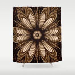 Abstract flower mandala with geometric texture Shower Curtain