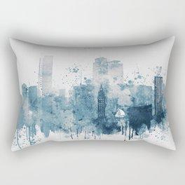 Blue Miami watercolor skyline design Rectangular Pillow