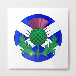 Scotish Flag And Thistle Button Metal Print