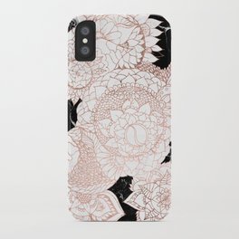 Modern rose gold floral mandala chic marble iPhone Case