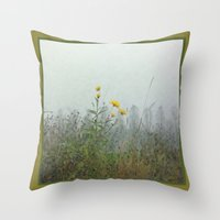battlefield Throw Pillows featuring Yellow Wild Flowers, Agincourt Battlefield by Susan in Paris