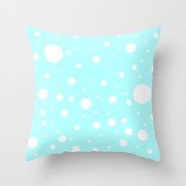 Mixed Polka Dots - White on Celeste Cyan Throw Pillow