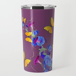 Puce Color Yellow Butterflies Blue Floral Abstract Travel Mug