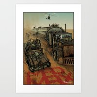 mad max Art Prints featuring Mad Max  by ZIMZONOWICZ