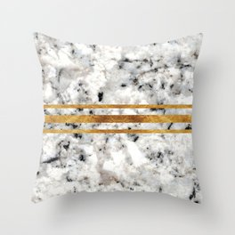 Classic Marble with Gold Racing Stripes Throw Pillow