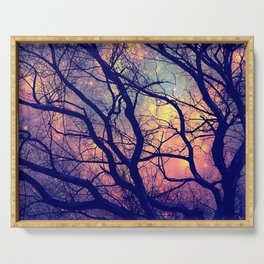 Black Trees Deep Pastels Space Serving Tray
