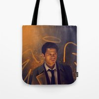 supernatural Tote Bags featuring Castiel - Supernatural by KanaHyde