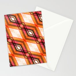 Blockchain - Red Orange Futuristic Geometric Abstract Stationery Cards