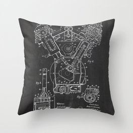 Patent combustion engine Throw Pillow