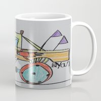 truck Mugs featuring Rocket Truck by Ryan van Gogh