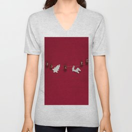 Christmas Decorations on Red (Color) Unisex V-Neck