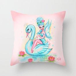 Blue Swan Fairy Throw Pillow