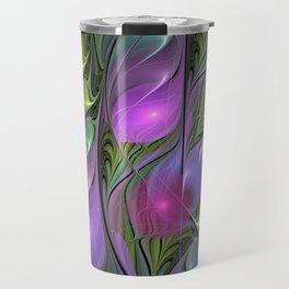Good Mood, Abstract Colorful Fractal Art Travel Mug
