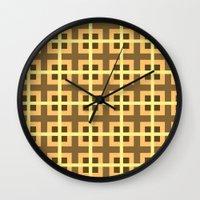 yellow pattern Wall Clocks featuring Pattern Yellow by BobbyK