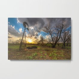 Twilight - Windmill and Trees and Sunset in Southern Kansas Metal Print