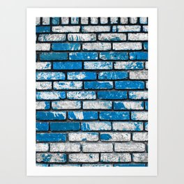 brick wall background in blue and white Art Print