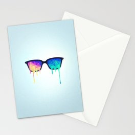 Psychedelic Nerd Glasses with Melting LSD/Trippy Color Triangles Stationery Cards