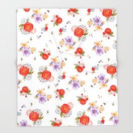 RED FLORAL Throw Blanket