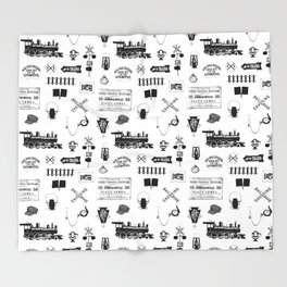 Railroad Symbols on White Throw Blanket