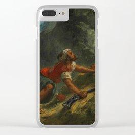 """Eugène Delacroix """"Arab Stalking a Lion"""" Clear iPhone Case"""