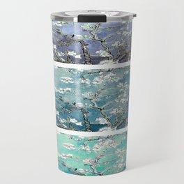 Van Gogh : Almond Blossoms Turquoise Teal Steel Blue Panel Art Travel Mug