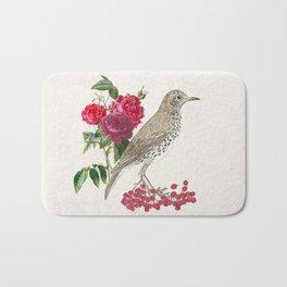 Birds, flowers and berries - an arrangement Bath Mat
