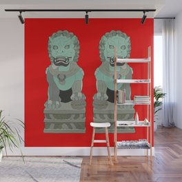 Lion Statues Wall Mural
