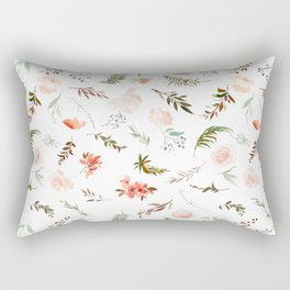 Coral pink green watercolor hand painted floral Rectangular Pillow