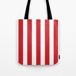 Fire engine red - solid color - white vertical lines pattern Tote Bag