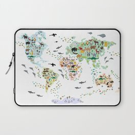 Cartoon animal world map for children, kids, Animals from all over the world, back to school, white Laptop Sleeve