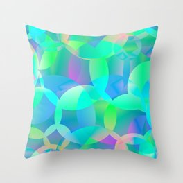 Abstract soap of blue molecules and bubbles on a shiny background. Throw Pillow