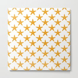 Starfishes (Orange & White Pattern) Metal Print