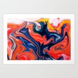 Burnin Man - Milk & Food Coloring Painting Art Print