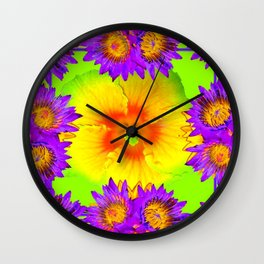 Chartreuse-Purple Flowers Gold Hibiscus  Pattern  Abstract Art Wall Clock