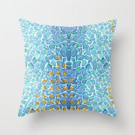 Street Floor Tiles Feeling Turquoise Tiger-Polka Dot...ish! Throw Pillow