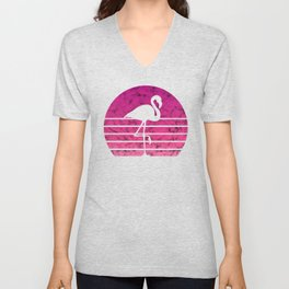 Flamingo Flamingos Walk Pink Colorful Retro Gift Unisex V-Neck