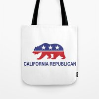 political Tote Bags featuring California Political Republican Bear  by Republican