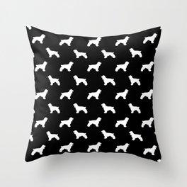 Cocker Spaniel black and white minimal modern pet art dog silhouette dog breeds pattern Throw Pillow