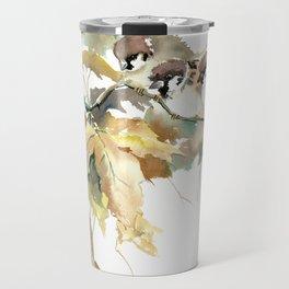 Sparrows and Fall Tree, three birds, brown green fall colors Travel Mug