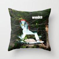 wooden Throw Pillows featuring wooden by Dan Brennan