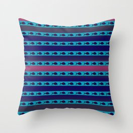 Blue Fish II Throw Pillow