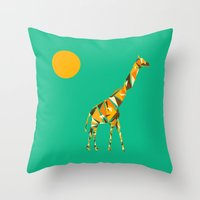 giraffe Throw Pillows featuring Giraffe  by fly fly away