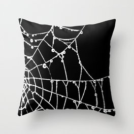 Spider Web Graphic Silhouette Throw Pillow