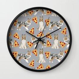 Sheltie shetland sheepdog pizza slices cheese pizzas dog breed pet friendly custom dogs Wall Clock