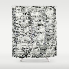 The Eternal Return of the Unique Event (P/D3 Glitch Collage Studies) Shower Curtain