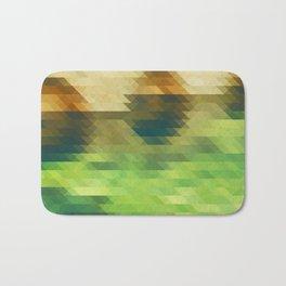 Green yellow triangle pattern, lake Bath Mat