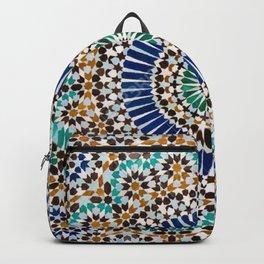 blue & gold moroccan tile Backpack